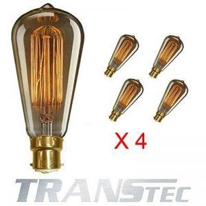TRANSTEC® 4X Ampoule Rétro ST64 B22 60W Ampoule Edison Déco à Filament Antique Vintage Incandescence - 230V 2700K Blanc Chaud Dimmable - En Cage d'écure à Filament - Industrial Style - [Classe énergétique A] de la marque Transtec image 0 produit