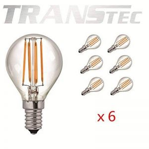 TRANSTEC 6X LED Filament Ampoule Mini Golf Rétro Style G45 - 2W LED E14 Base, Transparent Blanc Chaud 2700K, LED Edison Ampoule Non-dimmable de la marque Transtec image 0 produit