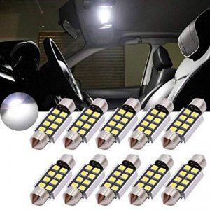 Tuincyn 36mm Garde toujours en aluminium CANBUS sans erreur ampoule LED Super Bright Blanc pur lumière de plaque d'immatriculation 2835–8smd E39E36E46E90E60E30E53E70de voiture Porte intérieure carte dôme lumières LED 12V (lot de 10) de la marque image 0 produit