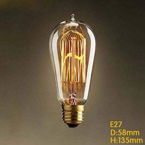 TY@ Vintage Edison Ampoules Dimmable E27 280lm 2300K blanc chaud fil ST58 pointe de tungstène ampoule Antik Pour les lampes industrielles de style rétro de Nostalgie, 40w de la marque Edison Lampe image 0 produit