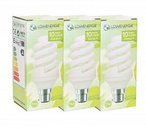 USB 11W (= 9) économie d'énergie ampoule spirale CFL Blanc chaud 2700K couleur Ampoule E14Petit culot à vis Edison SES PAC, 10ans, 10000heures Fluo Compact avec Tailles par Lowenergie, e14 11.0 wattsW de la marque Lowenergie image 0 produit