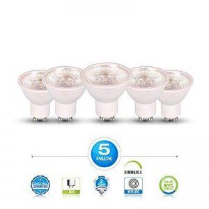 V-TAC GU10Ampoules LED, 7W Spot LED, équivalent 75W ampoules halogènes, 550lumens, MR16, 6000K, Blanc, à intensité variable, 110Angle de faisceau, éclairage encastré, éclairage Track, ampoules à économie d'énergie, 5PC Lot, de la marque V-TAC image 0 produit