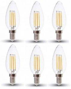 V-Tac SKU 4301 Pack de 6ampoules bougie LED à filament Blanc chaud 2700K Petit culot à vis E14/SES 4W 400lumens Finition verre style ampoule à incandescence classique Durée de vie moyenne 20000heures Non dimmable 230V Angle de faisceau 300degrés image 0 produit
