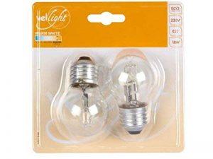 Velleman lumière LEH1B3A G45Ampoule Halogène Eco, verre transparent, ampoule E27, 2700K, 18W, 220–240V–Blanc chaud (lot de 2) de la marque Velleman image 0 produit
