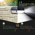 【Version Innovante】4 PACK 30 LED Mpow Lampe Solaire Etanche IPX6 Détecteur de Mouvement Panneau Solaire Amélioré 120° Grand Angle LED Eclairage Solaire Extérieur pour jardin, Garage, Cour, Maison, Escalier, Patio, Allée de la marque Mpow image 3 produit