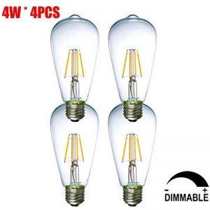 Vintage Edison LED Lampe à bougie Filament Glaray 4-Pack 4W E27 Gradable Gradable Classic Warm White 2700K ST64 LED Antique Bougie Lumière 40W Incandescent Equivalent de la marque Glaray image 0 produit