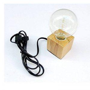 Vintage Support Douille E27 en Bois Carré Lampe de Table Avec Prise EU standard et Interrupteur, Luminaire Décoration Bureau Maison Café Bar Restaurant de la marque AZX image 0 produit