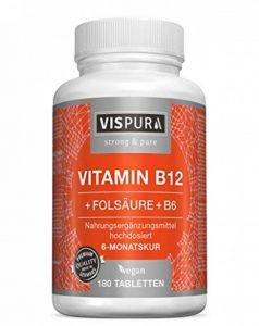 Vitamine B12 à fort dosage 1000 µg avec la formule VITALE acide folique + vitamine B6 méthylcobalamine 180 comprimés VÉGÉTALIENS qualité allemande supérieure et 30 jours de reprise gratuite de la marque VISPURA image 0 produit