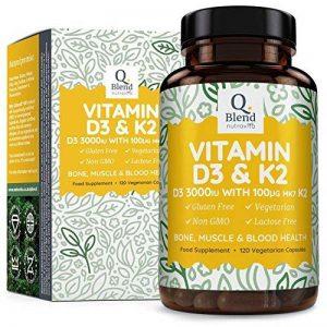 Vitamine D3 Triple Puissance 3000 UI & Vitamine K2 MK7 | 120 Capsules Végétariennes | Pour La Santé Des Os, Des Muscles | Vitamine D Haute Absorption du Cholécalciférol Par Nutravita de la marque Nutravita image 0 produit