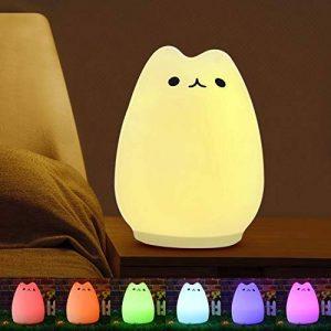 Vitutech Veilleuse Enfant Chat LED,Silicone LED Veilleuse USB Rechargeable Lampe Multicolore LED Veilleuse pour Bébé Lampe de chevet Cadeau Anniversaire Fête Lumière de Nuit de la marque vitutech image 0 produit