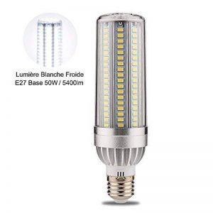 Wanfei Ampoule LED E27 de Maïs 50W Ampoule Spot LED Équivalent 380W Incandescent, 5400lm Angle de Faisceau 360 ̊ 6000K Lumière Blanc Non Dimmable Refroidissement duVentilateur Pas de Scintillement Lustre Décoratifs pour Entrepôt Garage [Classe énergétique image 0 produit