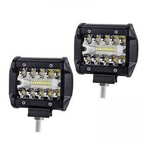 WANYI 2 x 4 Pouces 60W Lampe de Travail Led 12000LM Projecteur Phare de Travail LED Imperméable IP67 Feux Antibrouillard Poutre combo Spot et Flood(4 Pouces 60W) de la marque WANYI image 0 produit