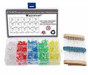 Waycreat 375pcs 5mm 5couleurs diffuse rond LED DIODES lumineuses Couleurs assorties kit (100K résistances incluses) de la marque Waycreat image 0 produit