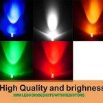 Waycreat 750pcs (5couleurs x 150pcs) 3mm 5couleurs LED clair à tête ronde Couleurs assorties diodes lumineuses colorées (100K résistances incluses) de la marque Waycreat image 1 produit
