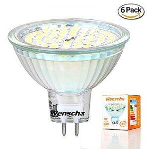 Wenscha spot de plafond MR16 6pc 5W LED ampoule 2800K GU5.3, AC/DC 12V, 400LM lampe Spot remplace Ampoule Halogène 40W angle d'éclairage 120° 60 x 2835 SMD [classe énergétique A ++] (blanc chaud) de la marque Wenscha image 0 produit
