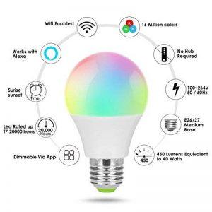 Wifi Smart ampoule, RGB Ampoule, à intensité variable souple Blanc chaud, fonctionne avec Amazon, Alexa distant contrôlé par iOs Smartphone Android (avec ampoule Adaptateurs de base en option), 1 Bulb+1 E27 to E27 Longer Adapter, Round, 4.50W de la marque image 0 produit