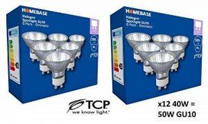 x10 GU10 40 W = 50 W GU10 Dimmable Dicrhoic ECO Halogène Réflecteur TCP Ampoule 240 V de la marque TCP image 0 produit