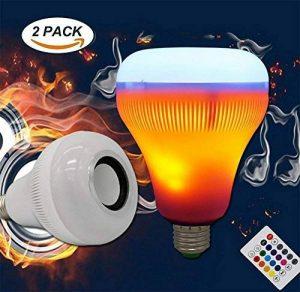 XF Lighting LED RGB Flammes Sans Fil Haut-Parleur Bluetooth Lumière D'ampoule De Musique E27 Musique Jouant La Lampe Avec Coloré (2Pack) de la marque XF Lighting image 0 produit