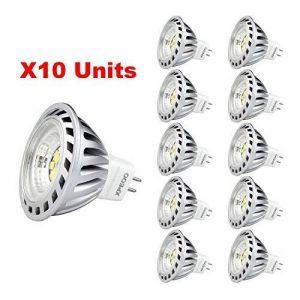 Xpeoo® Pack de 10 unités 6W LED MR16 GU5.3 lumière du jour Ampoule Equivalente à une Halogène de 50 W Spot Light Design Avant-gardiste Lampe Lamp lumière Bulb 520 lm Cool White Blanc froid Naturel Neutre 4500-5000k Éclairage DC AC 12V de la marque CYLED image 0 produit